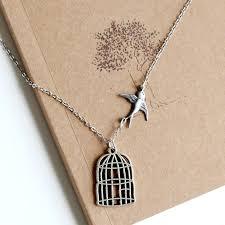 silver bird cage pendant necklace