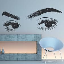 Eyelashes Eye Wall Sticker Girls Eye Eyebrows Wall Decal Girl Eye Make Up Wall Mural Girl Room Sticker Beauty Salon Decor Sale Up To 70 Stickersmegastore Com