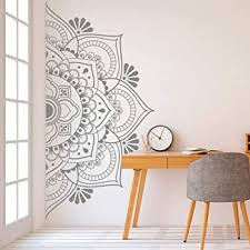 Ananda Mandala Wall Stencil Painted Manadalas Wall Decal Or Wall Sticker Decorative Wall Art Stencils Boho Bohemian Bedroom Medallion Mural Large 19 X 36 Half Repeat Amazon Com