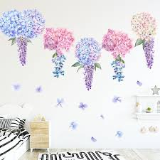 Watercolor Voilet Lavender Flower Balls Wall Stickers For Kids Room Living Room Bedroom Home Decoration Wall Decal Home Decor Leather Bag