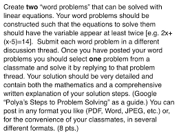 solved create two word problems that