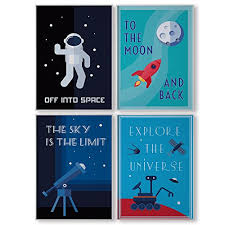 Kids Room Wall Art Bedroom Decor Nursery Accessories Space Theme Prints Home For Sale Online Ebay