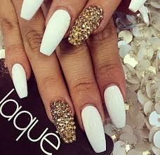 gold and white nails coffin new