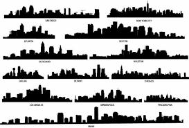 City Skyline Decal Skyline Silhouette Vinyl Wall Decals Etsy