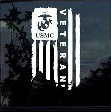 Usmc Marine Veteran Weathered American Flag Military Window Decal Stickers Custom Sticker Shop