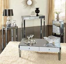 mirrored coffee table set with drawers