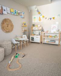 Modern Playroom With Rainbow Decals Project Nursery Modern Playroom Kids Playroom Decor Blue Playroom
