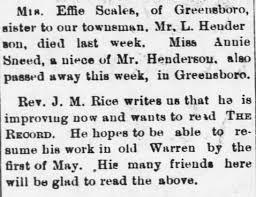 "Death of Euphemia ""Effie"" H. Henderson-Scales, originally of Granville Co,  NC - Newspapers.com"