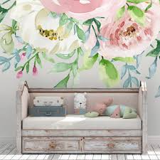 Evelyn Pink Pastel Watercolor Wild Flowers Wall Mural Decal Blooms