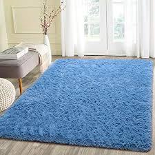 Beglad 4 Ft X 53 Ft Soft Fluffy Area Rug Modern Shaggy Bedroom Rugs For Kids Room Extra Comfy Nursery Rug Floor Carpets Boys Girls Fuzzy Shag Fur Home Decor Rug Blue