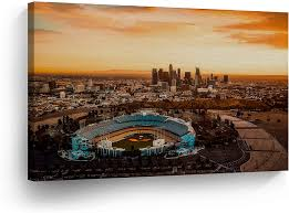 Amazon Com Los Angeles Wall Art Aerial View Of The Dodgers Stadium With The La View Canvas Print California Home Decor Artwork Gallery Wrapped Wood Stretched And Ready To Hang 100 Handmade