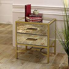melody maison gold mirrored bedside