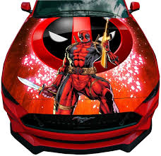 Car Hood Vinyl Wrap Full Color Graphics Deadpool With Logo Etsy