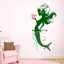 Mermaid Wall Decal Vinyl Sticker Spa Salon Decal Girls Room Bathroom Decor Waterproof Wall Stickers Custom Color Wallpaper Home Decor Wall Art Stickers Home Decor Wall Decals From Joystickers 8 96 Dhgate Com