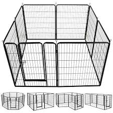 Amazon Com Yaheetech 24 Tall Heavy Duty Metal Pet Dog Puppy Cat Exercise Fence Barrier Playpen Kennel 16 Pane Dog Playpen Portable Dog Kennels Pet Playpens
