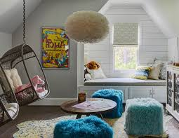 Kids Cool Kid Room Bluejack National Golf Community Farmhouse With Framed Art And Fuzzy Poufs