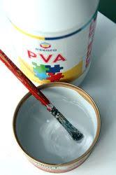 mix PVA glue and homemade glue (starch flour and boiled water ...