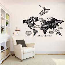 World Map Wall Decor Travel Agency Decoration World Map Wall Decal Geography Wall Decal Stickers E In 2020 World Map Wall Decor Map Wall Decor World Map Wall Decal