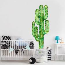 Saguaro Cactus Watercolor Wall Decal Tall Cactus Wall Mural By Chromantics