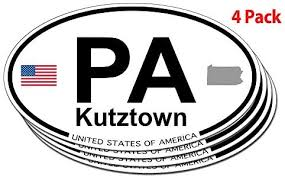 Amazon Com Us Decal Inc Kutztown Pennsylvania Oval Sticker 4 Pack Automotive