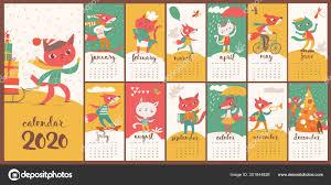 Vector 2020 Calendar With Funny Foxes And Cats Cartoon Character Stock Vector C Giraffarte 301644826