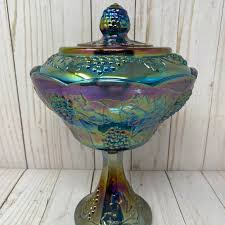 blue carnival glass pedestal candy dish