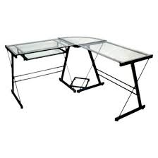 computer desk features a metal frame