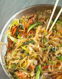 vegetable stir fry mung bean noodles