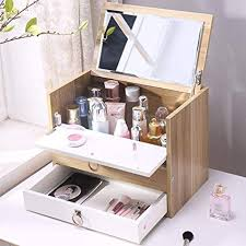dust proof wooden makeup organizer