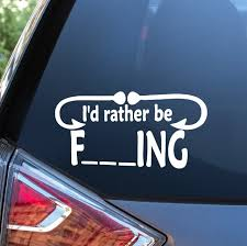 Rather Be Fishing Funny Window Decal Sticker Custom Sticker Shop