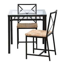 ikea table and 2 chairs black glass