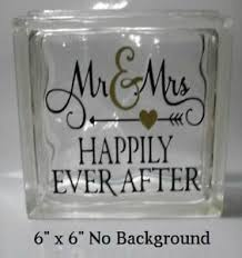 Happily Ever After Wedding Decal Sticker For 8 Glass Block Shadow Box Ebay