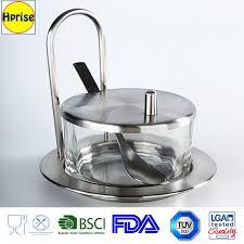 glass sugar spoon and sugar jar holder