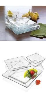 12 piece square dinnerware glass clear