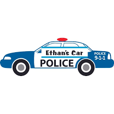 Police Officer Policeman Car Mobile Customized Wall Decal Custom Vinyl Wall Art Personalized Name Baby Girls
