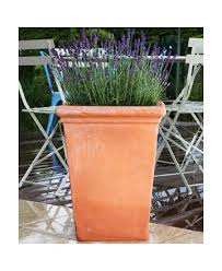 large tall square terracotta pots