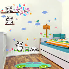 Lovely Forest Panda Birds Tree Branch Wall Stickers For Kids Rooms Nursery Room Decor Cartoon Animals Wall Decals Pvc Mural Art Leather Bag