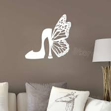 Fashion Shoes Silhouette Wall Stickers Girls Room Decor Butterfly Style Women Wall Decal Removable Vinyl Decals Bedroom Z404 Wall Stickers Aliexpress