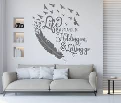 Feather Quote Wall Art Life Is A Balance Holding On Letting Etsy Vinyl Wall Decal Quote Wall Art Quotes Vinyl Wall Quotes