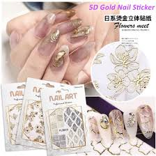 China Nail Art 5d Adhesive Gold Side Flower Sticker Nail Beauty Wholesale Foil Decoration Products China 3d Nail Foil Sticker And Nail Gold Decal Price