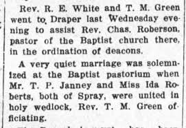 Thomas Phillip Janney and Ida Roberts marry. - Newspapers.com
