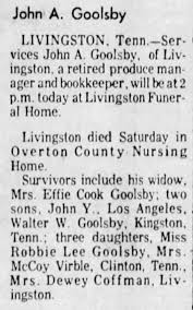 Obituary for John A. Goolsby - Newspapers.com
