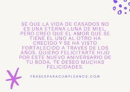 Felicitaciones Por Aniversario De Bodas De Un Hijo Frasescumpleanos