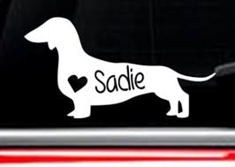 Dachshund Dog Car Decal With Custom Name Free Shipping Etsy