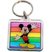 Disney Acrylic Keychain - Mickey Mouse Rainbow - Square