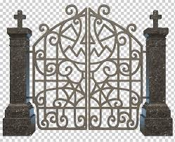 Gray Metal Gate Cemetery Halloween Graveyard Gate Happy Halloween Image File Formats Fence Png Klipartz