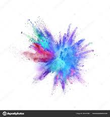 colored powder explosion on white