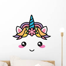 Kawaii Face Cute Unicorn Wall Decal Wallmonkeys Com