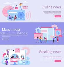Journalist Landing Page Online News Banner Mass Media Website Breaking News  Content Recording Interview With Camera Radio Tv And Newspaper Web Template  Vector Flat Illustration Stock Illustration - Download Image Now - iStock