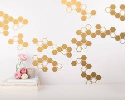 Small Honeycomb Wall Decals Geometric Wall Decals Gold Vinyl Decals Honeycomb Decal Vinyl Wall Decals Living Room Decals Wall Sticker